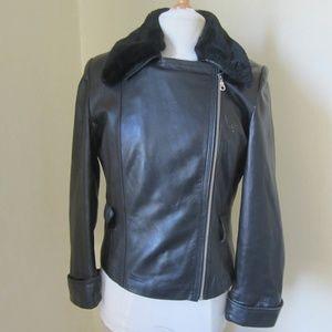 Pelle Studio Wilsons Black Leather Lined Coat M